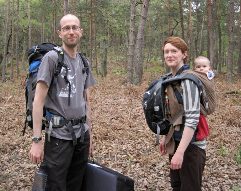 Me, Valerie and Leo loaded up for a day of bouldering in the woods.