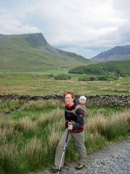 Valerie and Leo going up the trail from Rhyd Ddu.