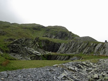 Disused slate quarries.