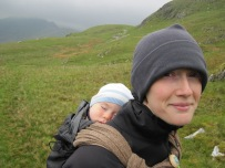 Leo asleep as Valerie and I walk across country to get down from Craig Wen.
