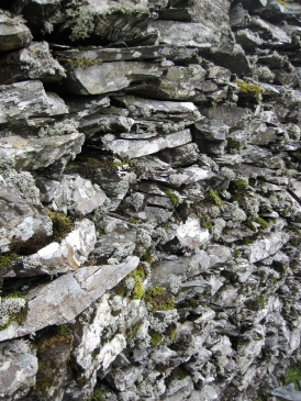 Slates stacked in a disused quarry.