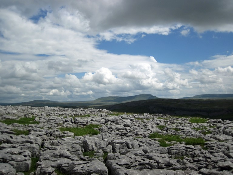 Limestone pavement with Pen y Ghent in the distance.