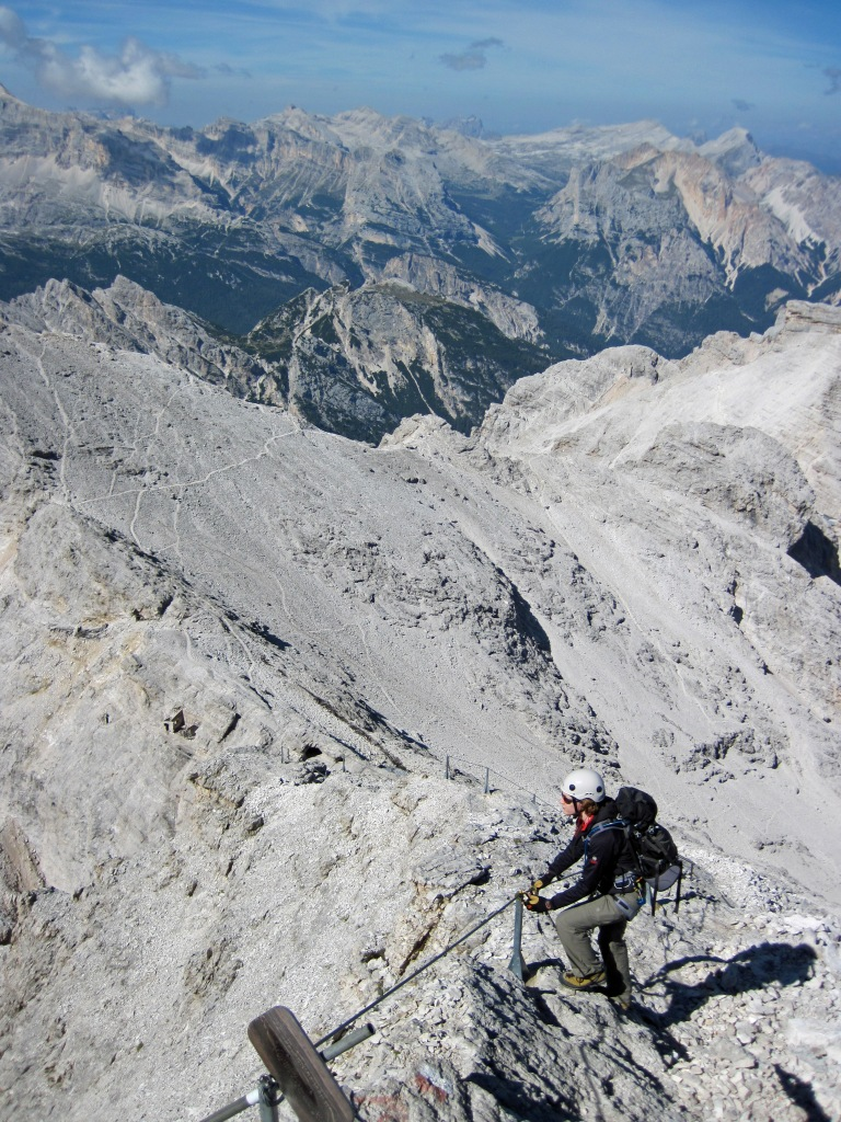 Valerie climbing the Via Ferrata Ivano Dibona in the Dolomites.