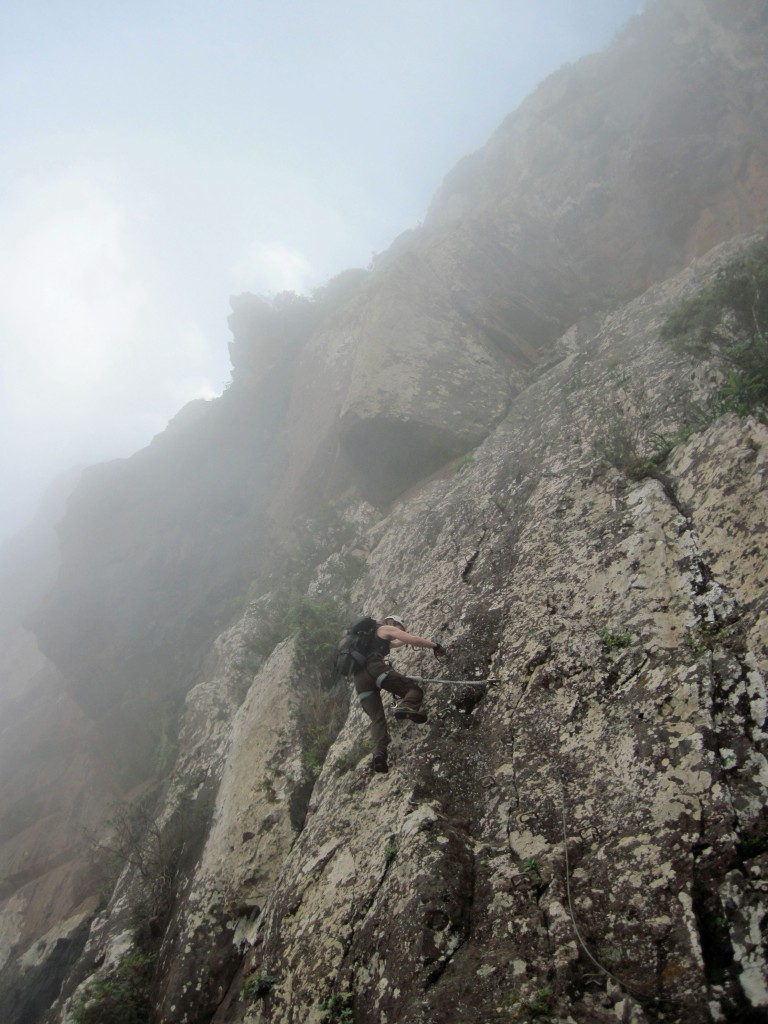 Valerie climbing the Via Ferrata La Guagua on Gran Canaria in the Canary Islands.