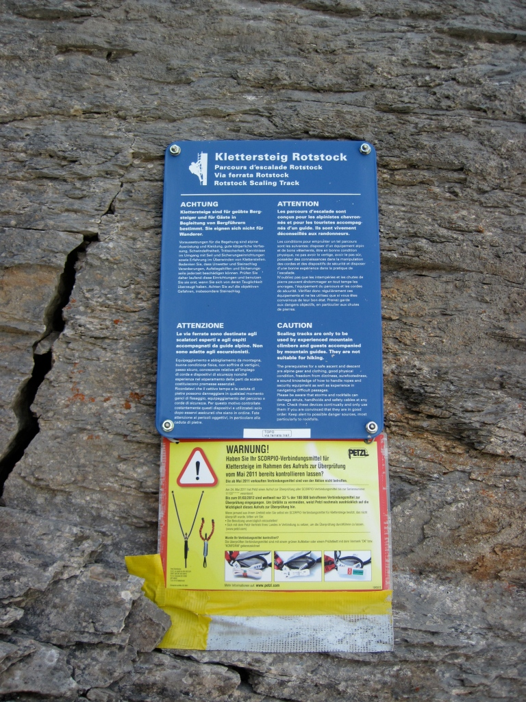 The warning sign at the start of the Rotstock Via Ferrata in Switzerland.