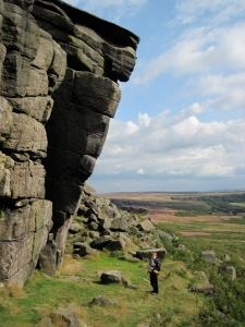 Valerie and Leo below the Leaning Block at Higgar Tor.