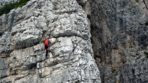 Me climbing the Via Ferrata Michielli Strobel in the Dolomites.