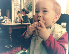Leo enjoys his first Cornish pasty.
