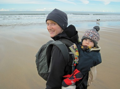 Valerie and Leo on the beach at Bude.