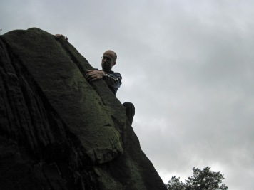 Me climbing Left Arete on The Rippler boulder.