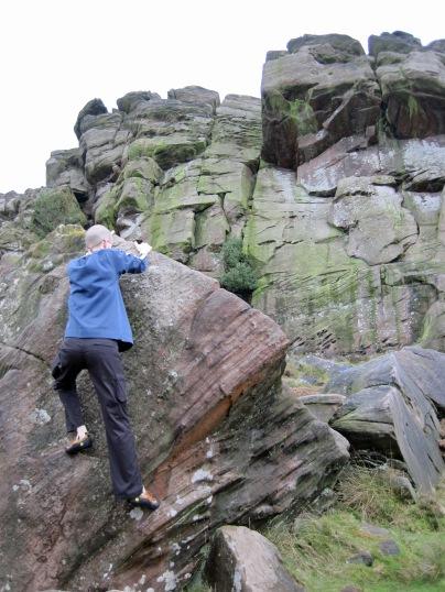 Me climbing Nose Arete on The Nose boulder.