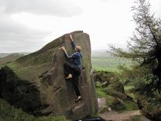 Climbing The Bishop's Move problem on Joe's Boulder.