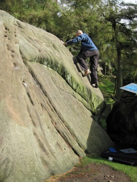 Me climbing Pine Arete on Pine Tree Slab.
