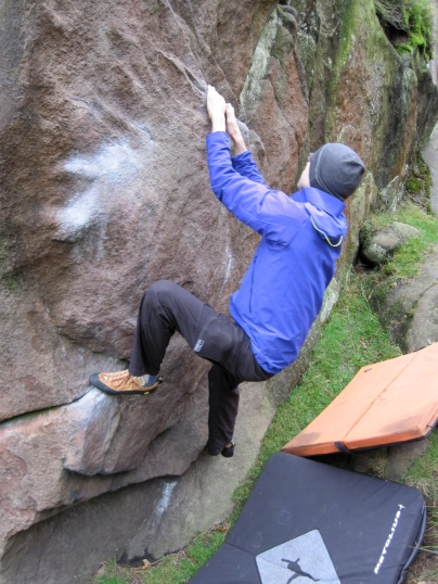 Me climbing Classic Arete on The Big Block.