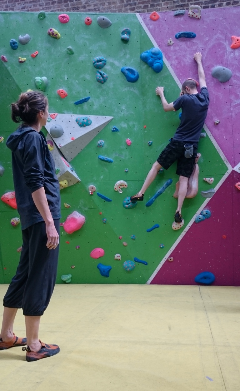 Alice coaching me on how to climb in a more fluid way.