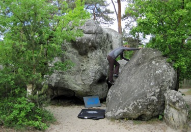 Valerie climbing problem number 8 on the yellow circuit at Buthiers Piscine.