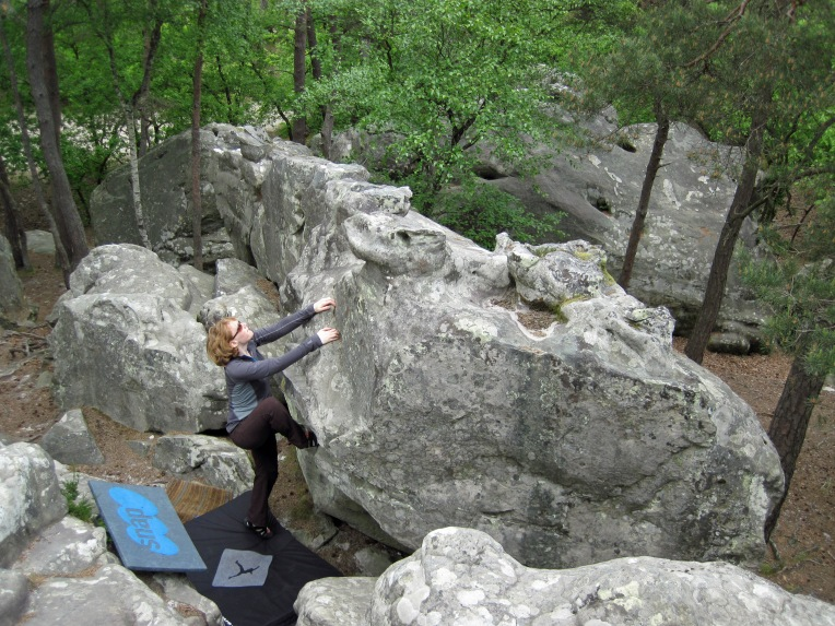 Valerie climbing the yellow circuit at Buthiers Piscine.