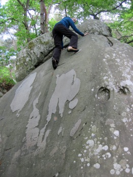 Me climbing problem number 6 on the orange circuit at Buthiers Piscine.