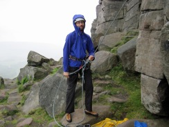 Hoping the rain will stop while belaying at Stanage.