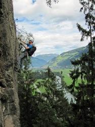 Me climbing the Klettersteig Huterlaner.
