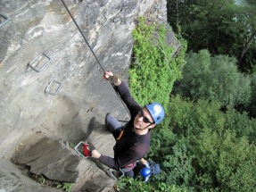 Nick climbing the Klettersteig Huterlaner.