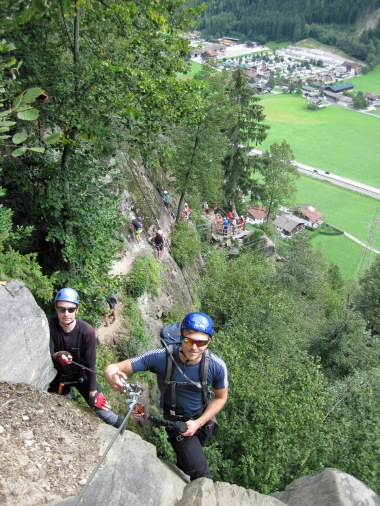 Nick and Ben at the top of the last major bit of climbing on the Klettersteig Huterlaner.