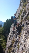 Me doing a fun traverse on the Klettersteig Knorren.