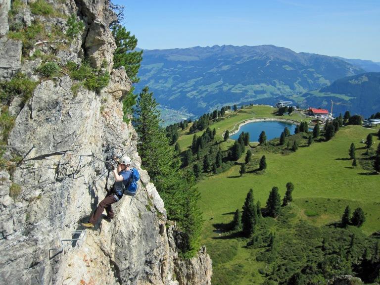 Valerie climbing the Klettersteig Knorren