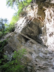 The Kathedrale overhang at the start of the Klettersteig Pfeilspitzwand.