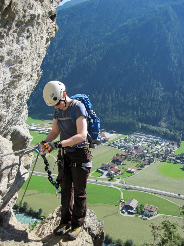 Valerie climbing the Klettersteig Pfeilspitzwand