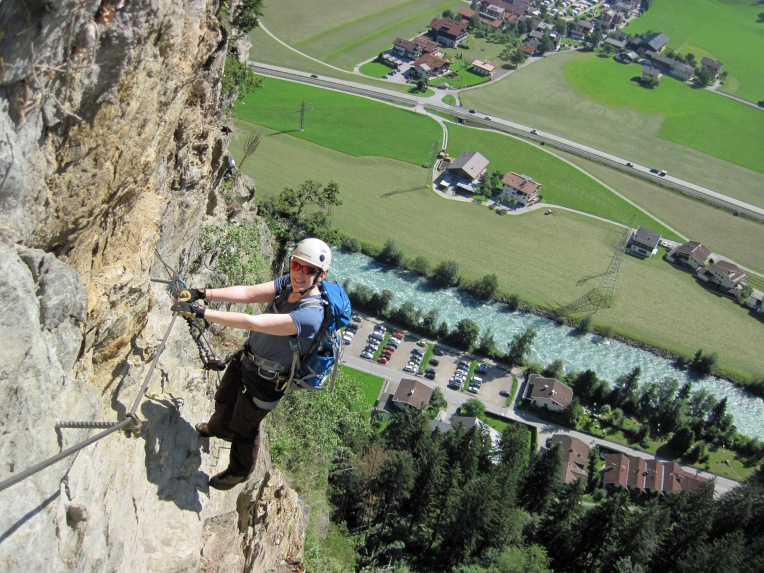Valerie climbing the Klettersteig Pfeilspitzwand.