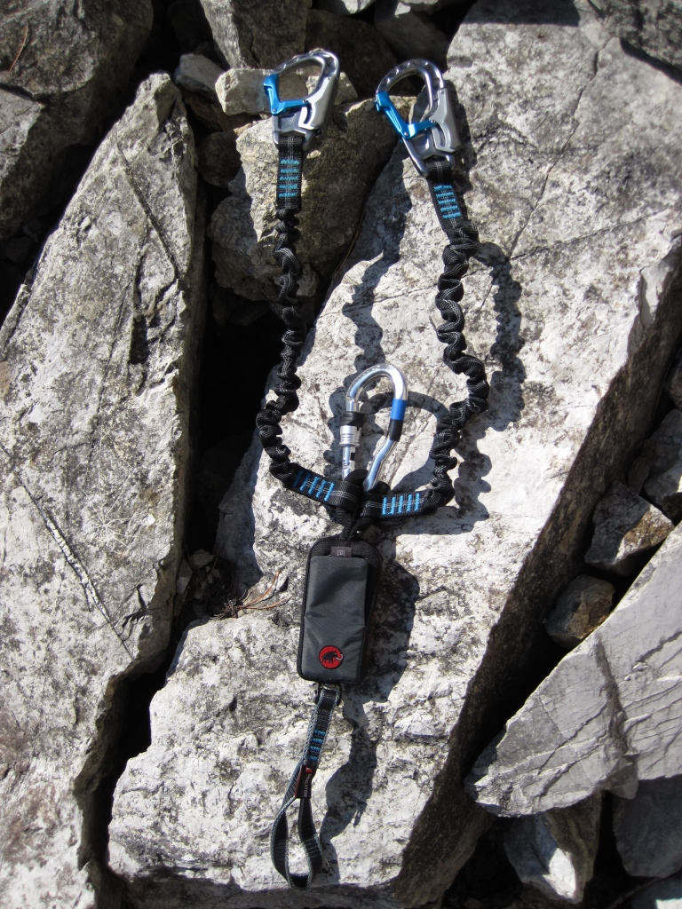 The Mammut Tec Step Bionic Turn 2 (note: the Klettersteig karabiner attached to the resting loop does not come with this via ferrata set, you have to buy it separately).