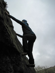 Me climbing Badger Rock in Kentmere in the Lake District.