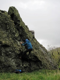 Me bouldering on Badger Rock.