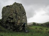 Me starting a problem on Badger Rock.