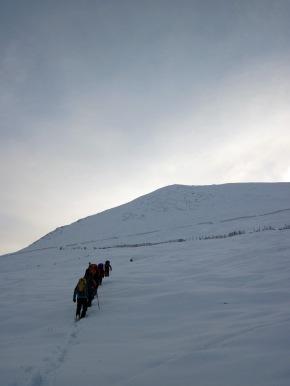 The group walking up Aonach an Nid.