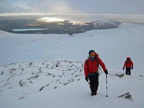Bill and Conor walking up Fiacaill Coire an t'Sneachda.