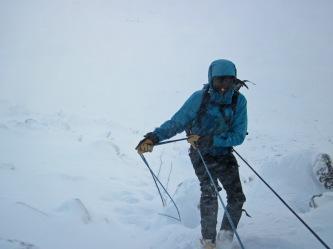Me abseiling down a section of Fiacaill Coire an t'Sneachda.