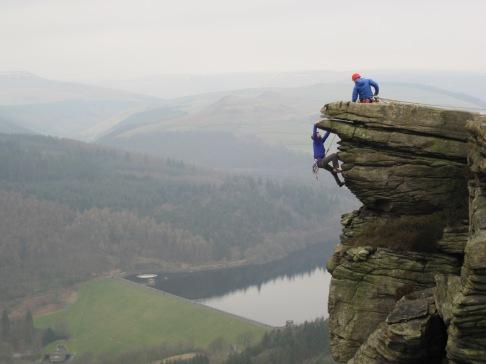 Climbing the absolutely brilliant Gargoyle Flake (VS, 4c) at Bamford Edge.
