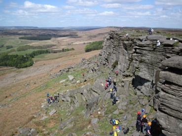 A busy Spring day at Stanage Popular end.