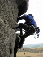 Climbing the fun Monkey Crack (VDiff) at Stanage.