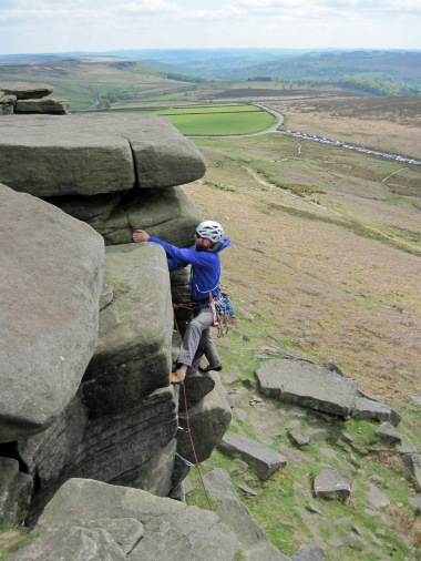 Climbing Monkey Crack (VDiff) at Stanage.