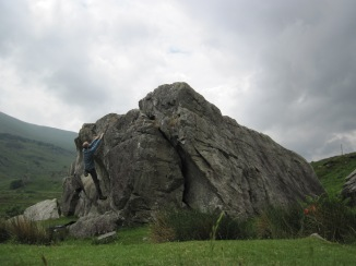 Bouldering on the Marsh Boulder at the RAC Boulders.