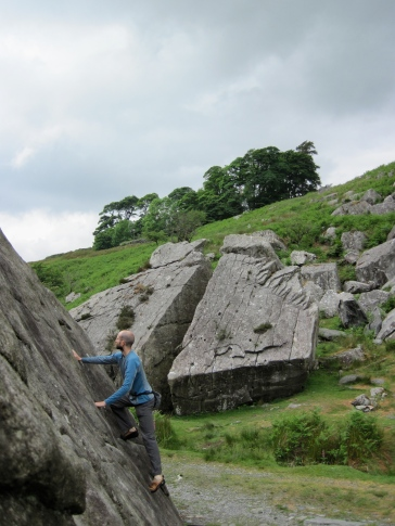 Me on the problem named Scoops (F4) on the Marsh Boulder at the RAC Boulders.