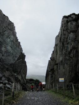 Walking through the Dinorwig Slate Quarry.