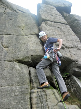 Me at the start of my lead of Ring Climb (Severe, 4a) at Burbage