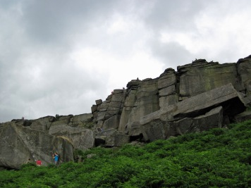 The Grand Hotel bouldering area and the Goliath's Groove area of Stanage Edge