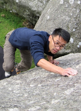 Leo climbing on Baby Slab at Bonehill.