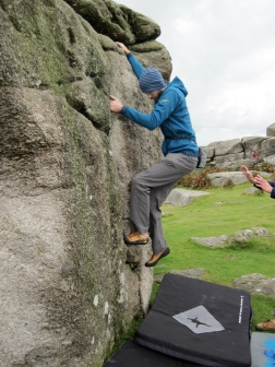 Me climbing on The Cube boulder at Bonehill.