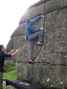 Me climbing on The Cube boulder at Bonehill.